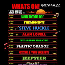 What's On Poster - Belle Vue Tavern Pegwell Bay